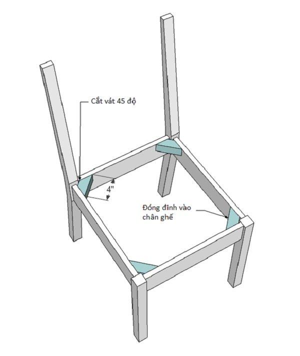 Gắn thanh hỗ trợ vào các góc của khung ghế