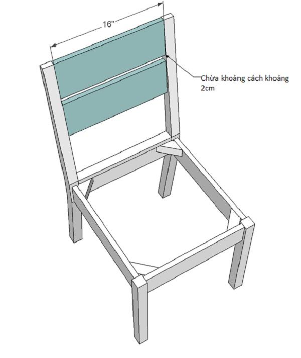 Gắn tấm dựa lưng ghế đảm bảo độ bền chắc