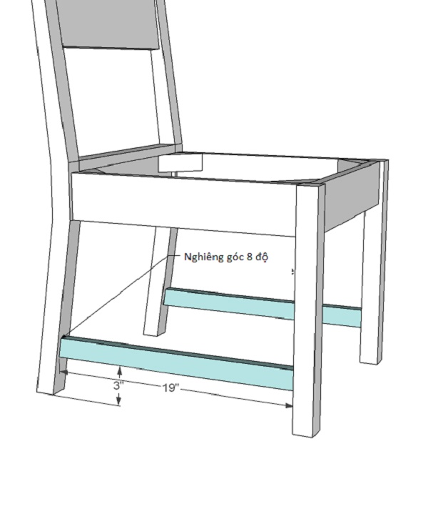 Gắn thanh gỗ hai bên chân ghế