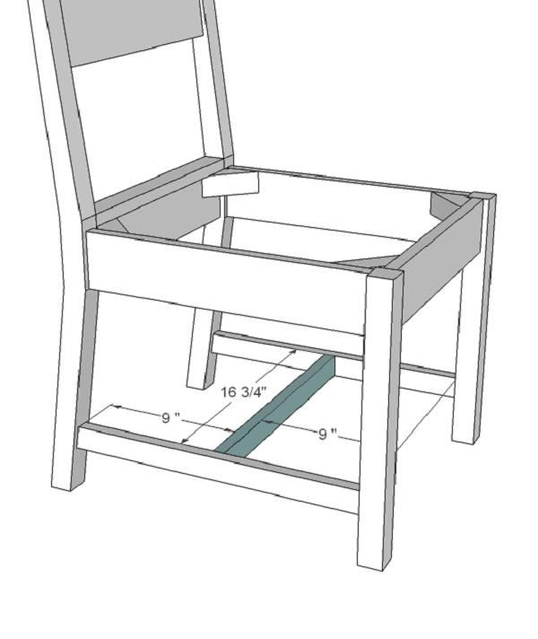 Sử dụng thanh gỗ hỗ trợ ở giữa để đảm bảo độ bền chắc cho ghế
