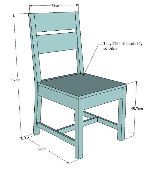 Bản vẽ ghế gỗ đơn giản với kích thước chuẩn