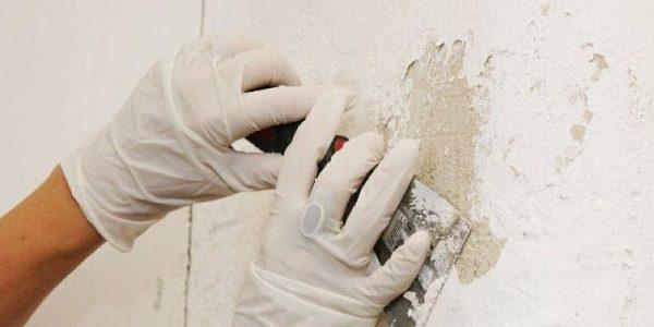 Chú ý làm sạch tường vôi bị bong tróc để chống thấm