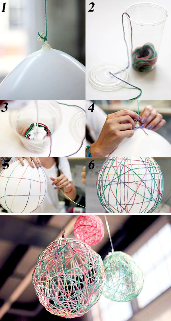 Các bước làm đèn chùm từ dây len và keo dán giấy