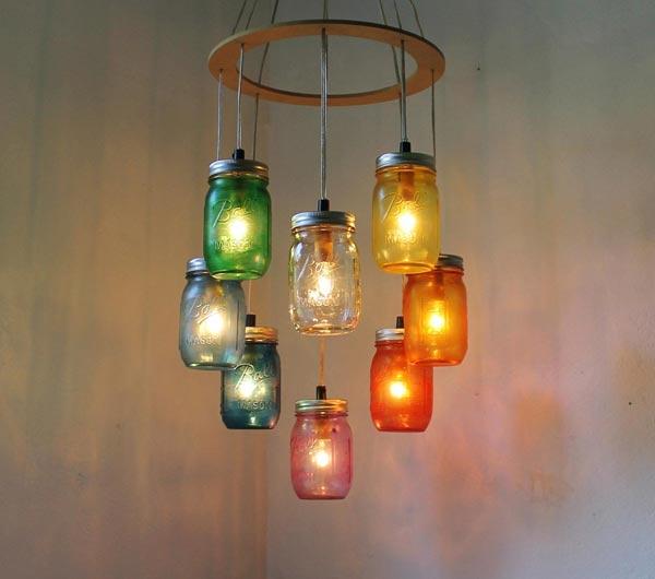 Đèn chùm làm từ lọ thủy tinh