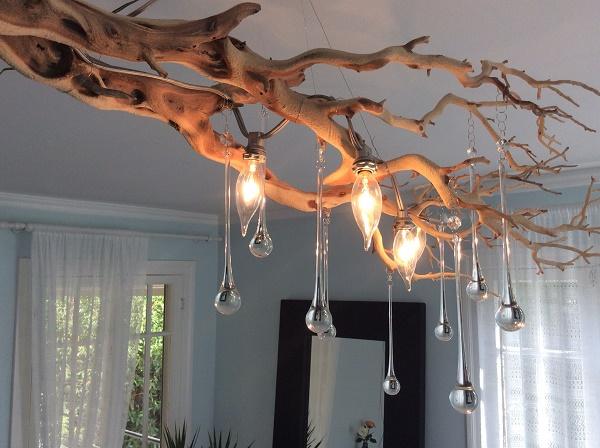 Đèn chùm làm từ cành cây