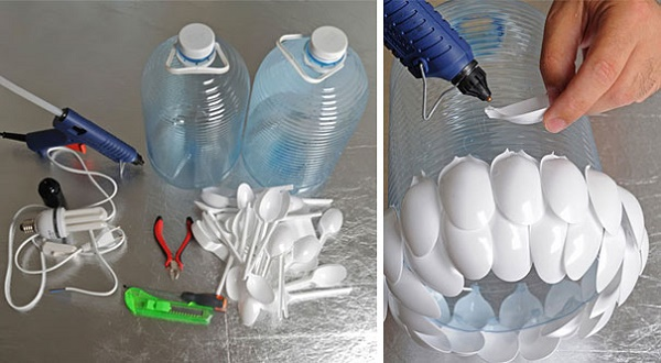 Chuẩn bị làm đèn chùm từ chai nhựa và thìa nhựa