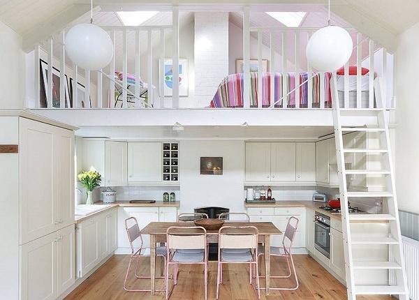 Mẫu phòng ngủ màu trắng kết hợp đồ nội thất đa sắc màu tạo sự sống động cho ngôi nhà