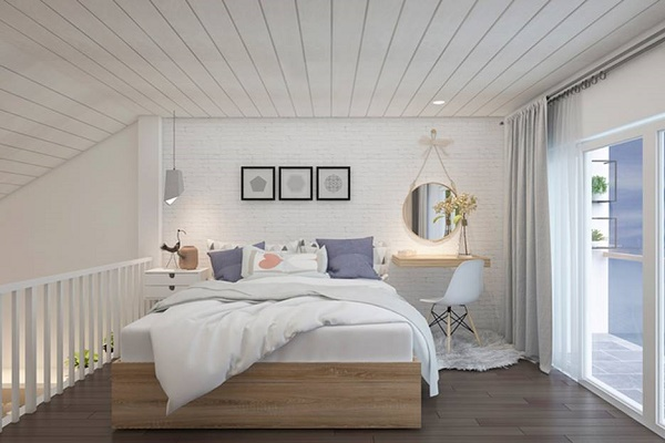 Mẫu thiết kế phòng ngủ nhỏ nhẹ nhàng và sang trọng từ màu trắng thanh lịch