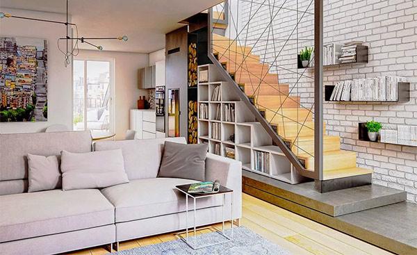 Treo tranh ảnh trên tường cầu thang