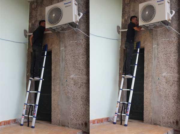 Dùng thang nhôm vệ sinh điều hòa