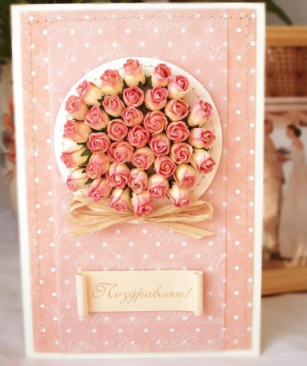 Trang trí tấm thiệp hoa hồng hoàn chỉnh