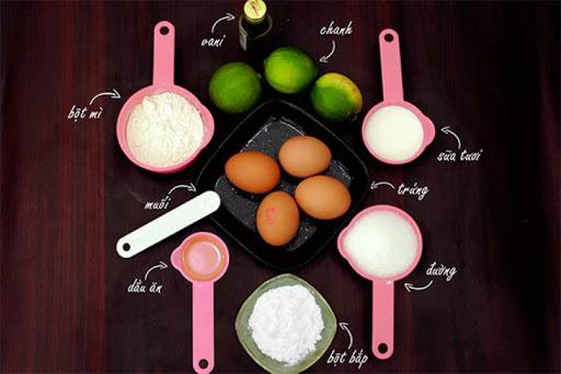 Nguyên liệu cần chuẩn bị để làm bánh bông lan bằng nồi cơm điện