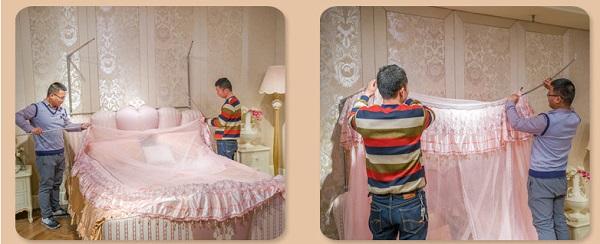 Luồn vải màn vào màn khung