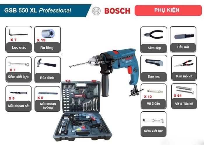 Bộ máy khoan động lực Bosch GSB 550 XL
