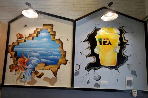 mẫu vẽ tranh tường trà sữa