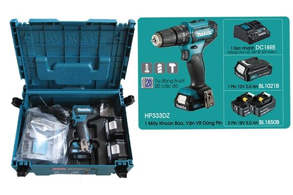 Máy khoan búa và vặn vít dùng pin Makita HP333DNX10
