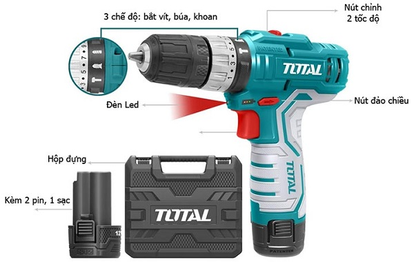 Máy khoan búa dùng pin Total TIDLI1232