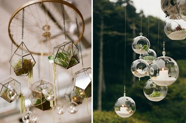Chậu trồng hoa treo ban công làm từ bát thủy tinh bằng nhựa