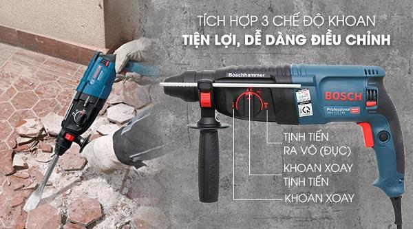 Bosch GBH 2-26 DRE làm việc mạnh mẽ, khoan bê tông dễ dàng