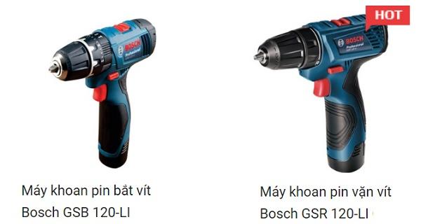Hai máy khoan pin Bosch 12V thiết kế tương đồng nhau